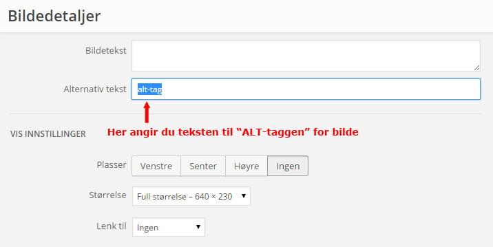 Angivelsen av ALT-tag i WordPress